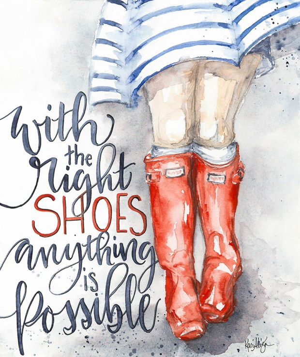 The Right Shoes Watercolor Painting by Kari Alisa Watson - Doodlewash