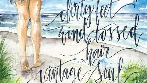 Barefoot Vintage Soul Watercolor Painting by Kari Alisa Watson - Doodlewash