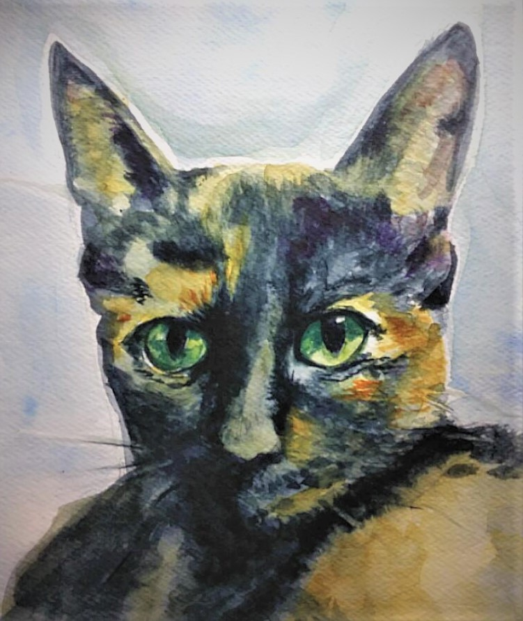 My kitty held still for a good photo today and I could not resist starting World Watercolor Month of