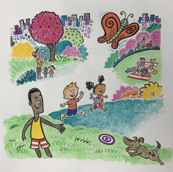 Interior page illustration of kids playing from You're Missing It Book by Brady Smith with Tiffani Thiessen