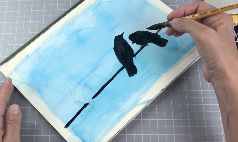 Painting Dark silhouettes on a light watercolor background example birds