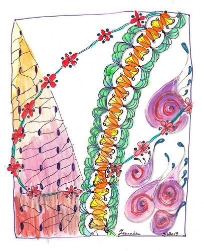 patternplay in watercolours. I really liked the snail-like pattern(Kochlea) and made that into purpl