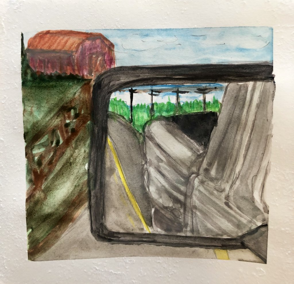 #WorldWatercolorMonth Day 6: Window View Inspired by a recent photo essay I did of country roads. On