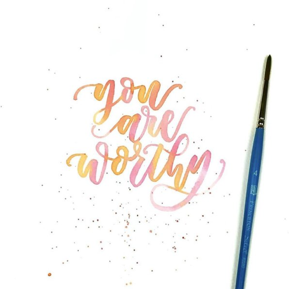 You Are Worthy - Shelly Kim Watercolor Lettering - Letters by Shell - Doodlewash