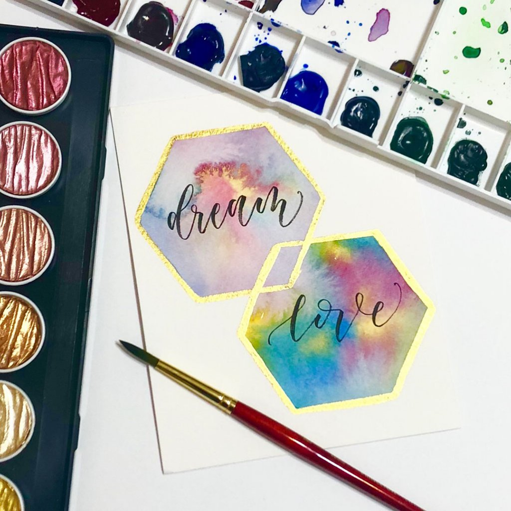 Dream Love - Shelly Kim Watercolor Lettering - Letters by Shell - Doodlewash
