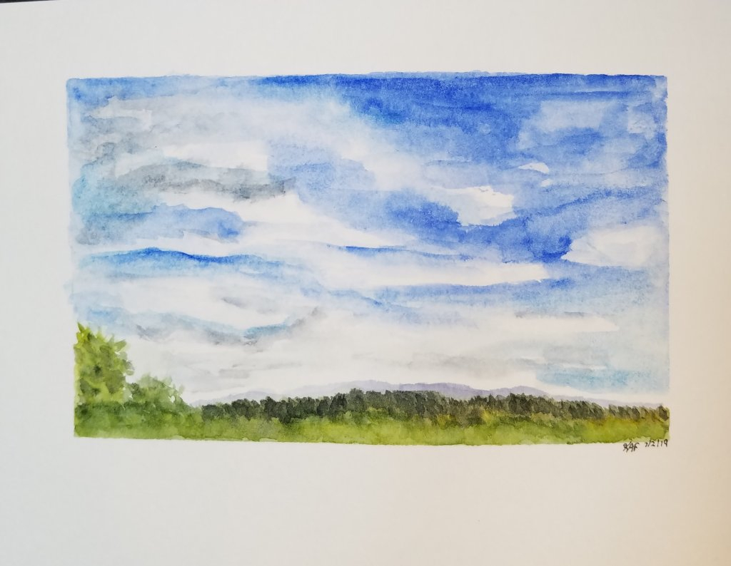 Day 2 – #WorldWatercolorMonth – Sunny Sky. I love watching clouds especially on a lazy s
