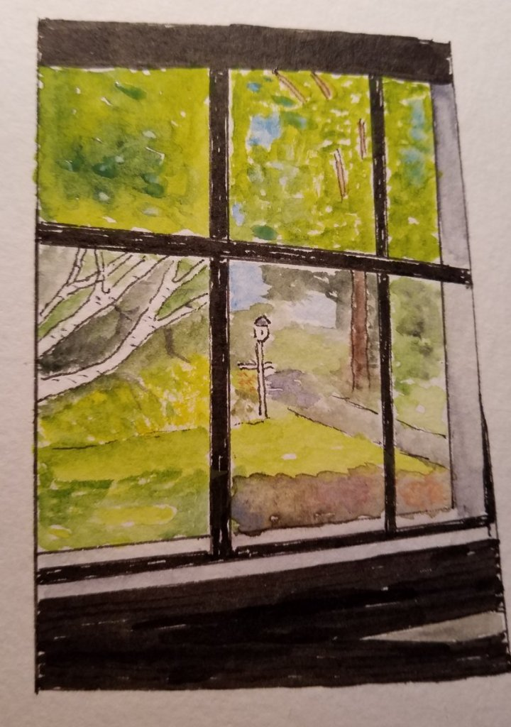 #WorldWatercolorMonth, #DoodlewashJuly2019 – window view. This is the view from my dining room