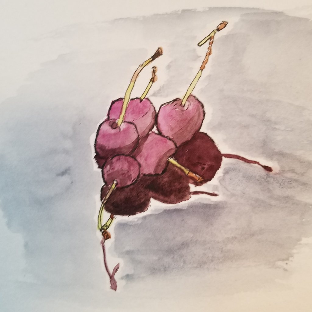 #WorldWatercolorMonth, #DoodlewashJuly2019 – fruits. The cherries are delicious right now. 201