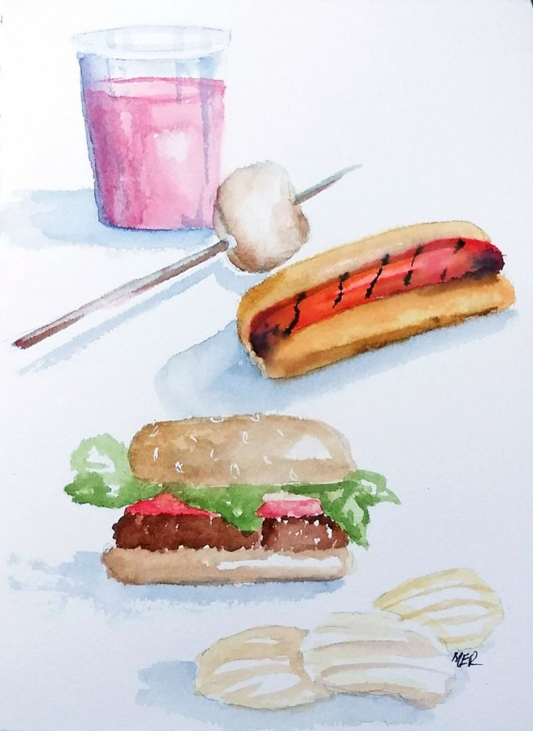 7/3/19 Picnic Food #worldwatercolormonth 7.3.19 Picninc Food img 739