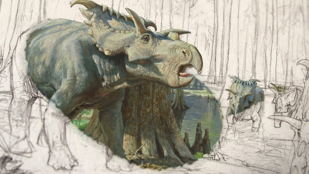 Dinosaur drawing process Dinotopia with James Gurney