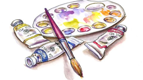 rimary Palette Watercolor Illustration World Watercolor Month Day 1