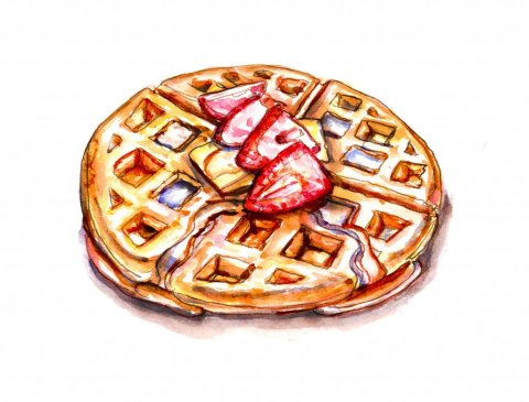Waffle Syrup Butter Watercolor Illustration