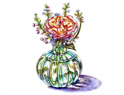 Flowers In Vase Watercolor Illustration