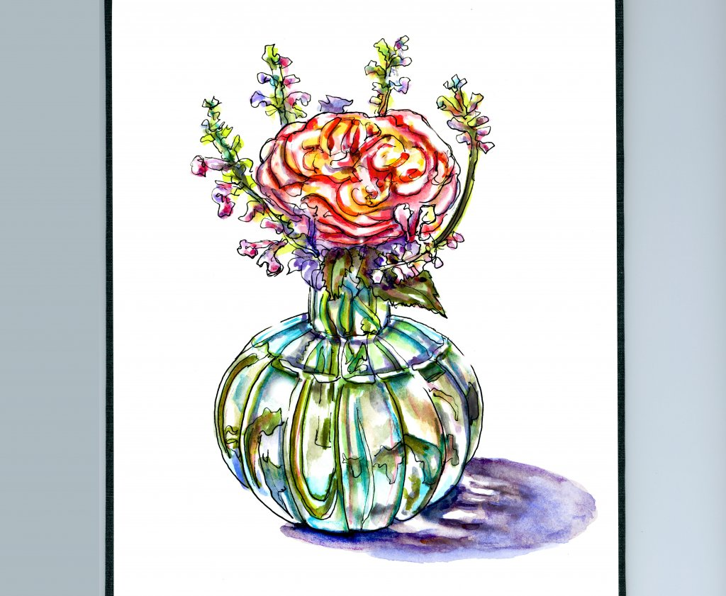 Flowers In Vase Watercolor Illustration Sketchbook Detail