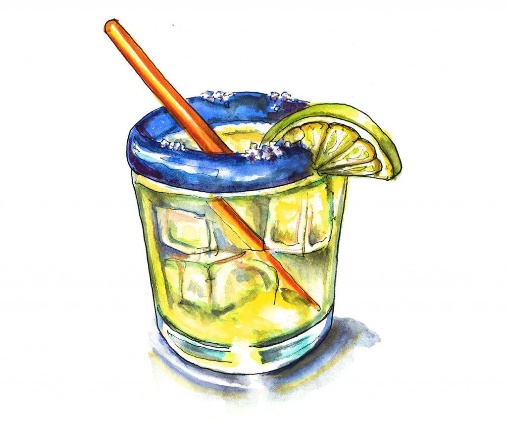 Margarita Glass Watercolor Illustration