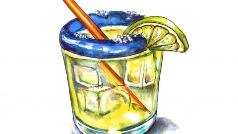 Margarita Glass Watercolor Illustration