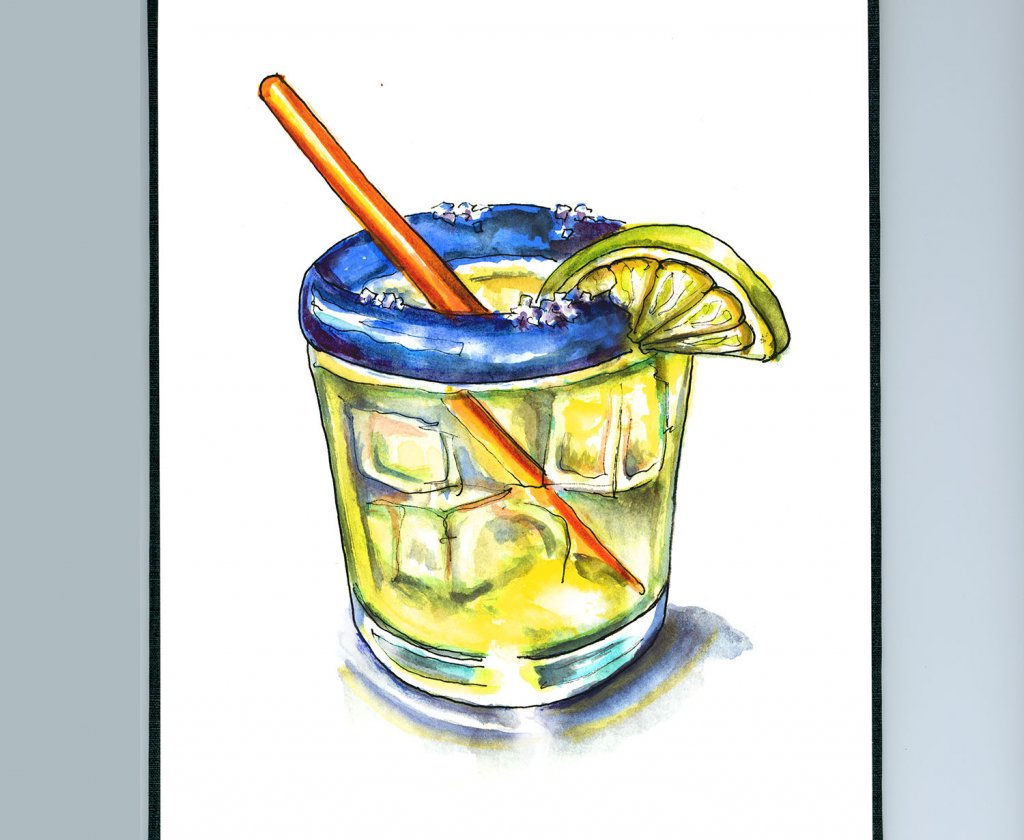 Margarita Glass Watercolor Illustration Sketchbook Detail