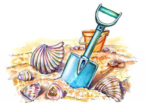 Beach Fun Seashells Shovel Sand Watercolor Illustration