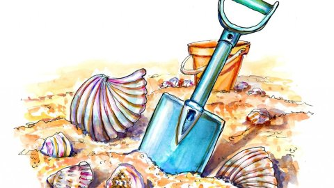 Beach Fun Seashells Shovel Sand Watercolor Illustration