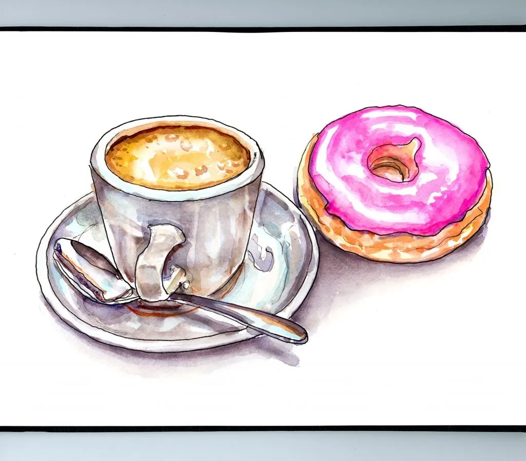 Coffee Donut Watercolor Illustration Sketchbook Detail