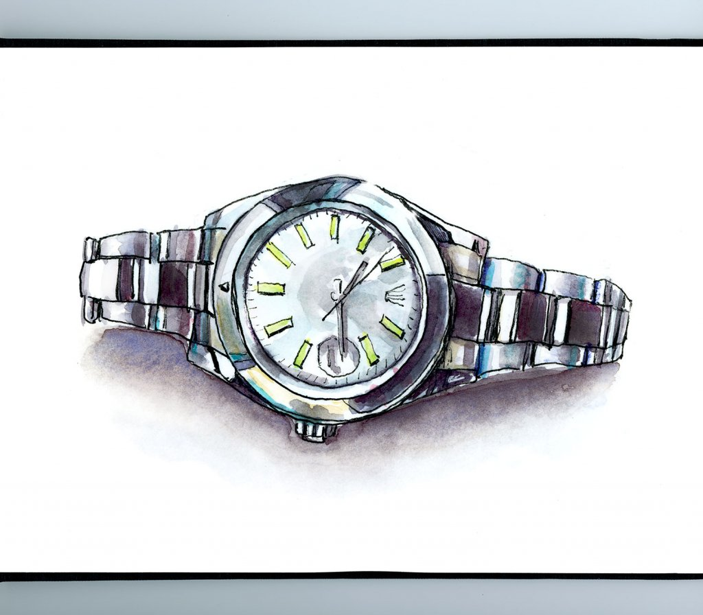 Rolex Watch Watercolor Illustration - Sketchbook Detail