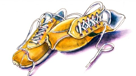 Yellow Orange Sneakers Watercolor Illustration