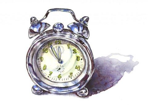 Silver Alarm Clock Watercolor Illustration