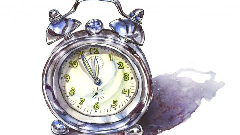 Silver Alarm Clock Watercolor Illustration