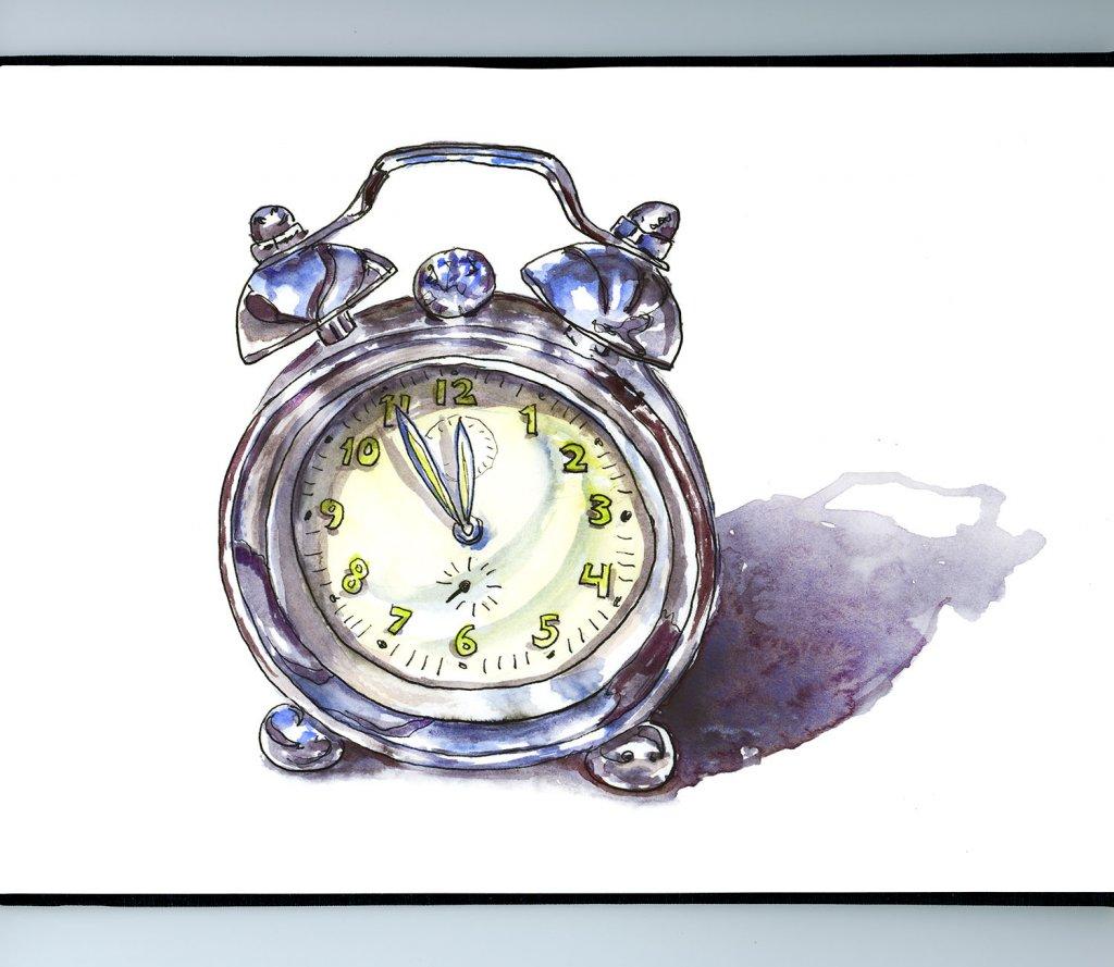 Silver Alarm Clock Watercolor Illustration Sketchbook Detail