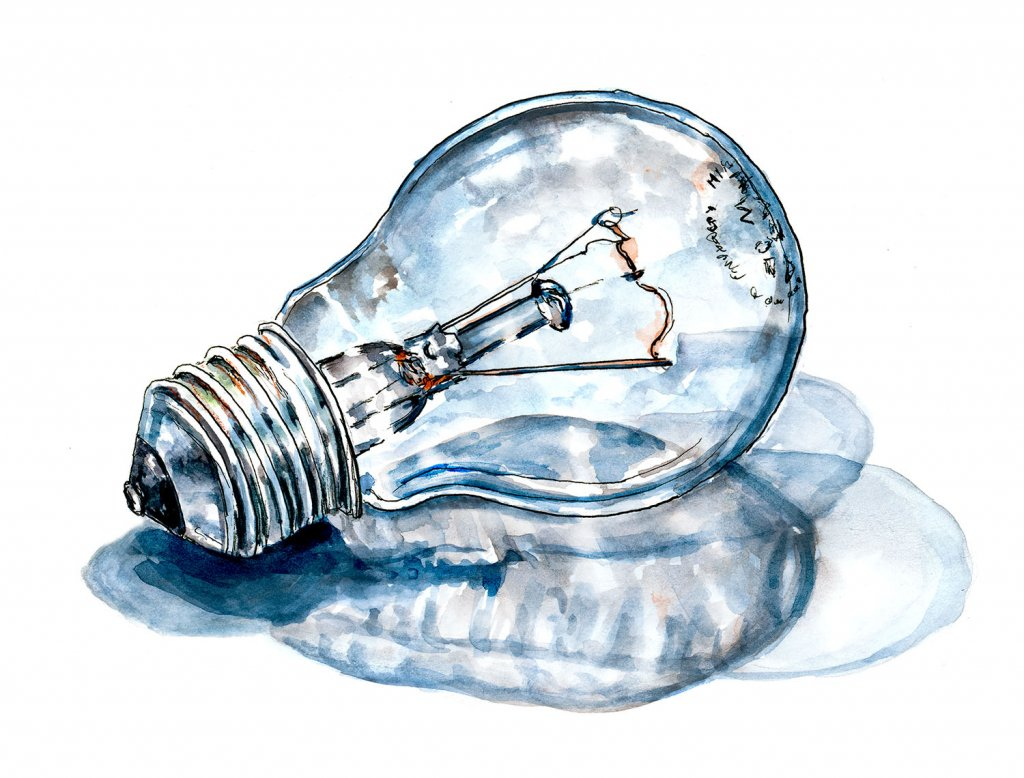 Light Bulb Idea Watercolor Illustration