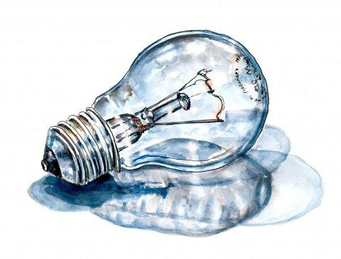 Light Bulb Idea Watercolor Illustration
