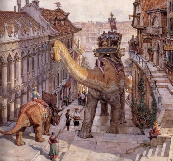 Dinotopia Illustration Painting Dinosaur Walking Streets of city