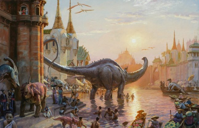 Dinotopia At Sunset Illustration by James Gurney