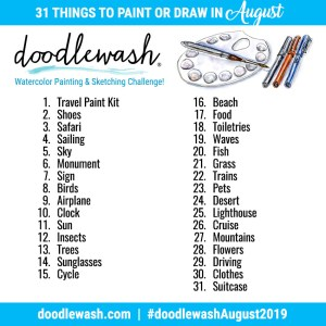 Doodlewash August 2019 Drawing And Watercolor Prompts
