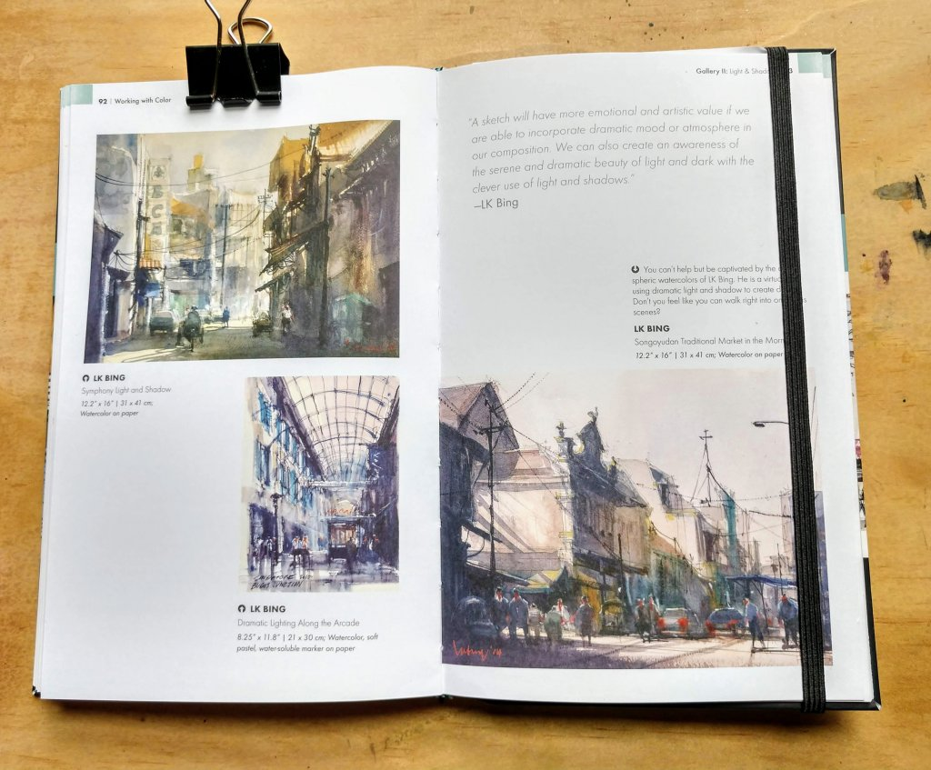 Book page spread gallery of urban sketchers paintings