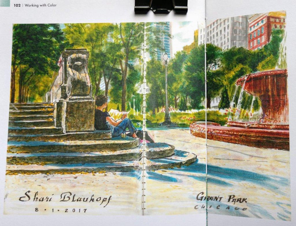 Grant Park Chicago Urban Sketching by Shari Blaukopf