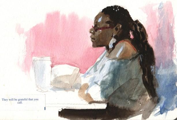 Woman in Restaurant Gouache Sketch James Gurney