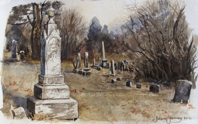 Graveyard Illustration Watercolor by James Gurney