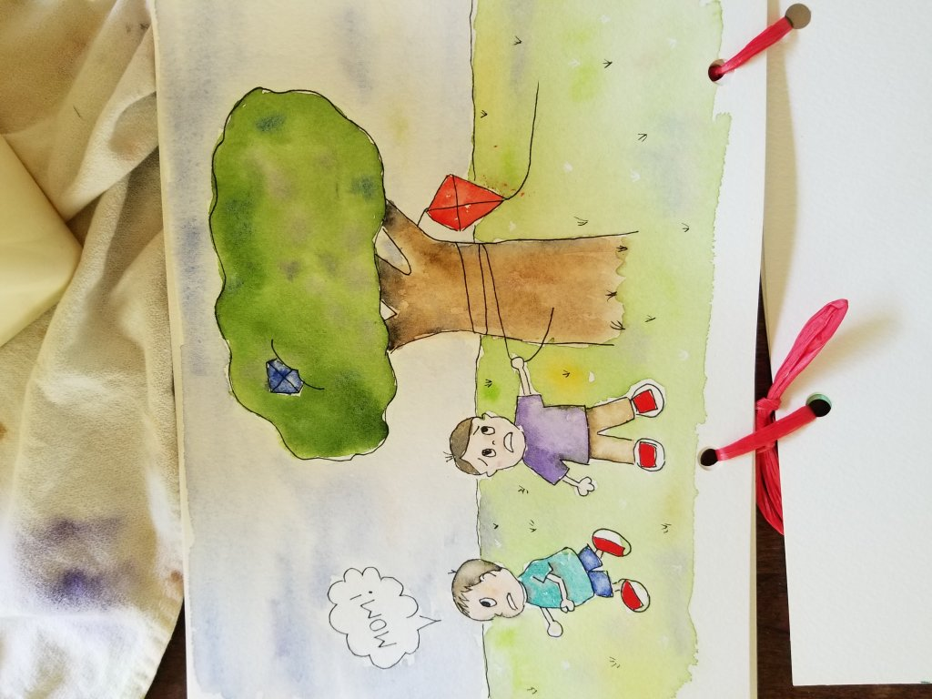 #worldwatercolormonth #worlwatercolorgroup #doodlewash Day 4 – family fun How can I stop this