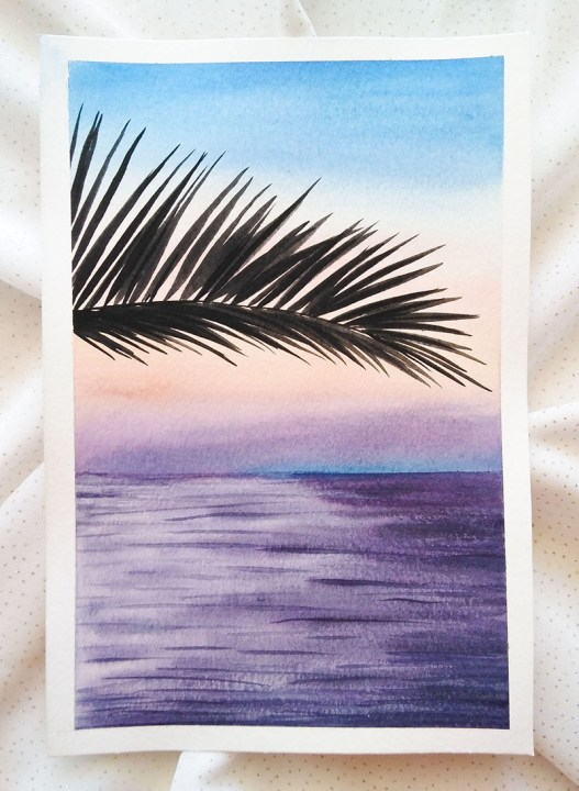 Nesrine Ziadi watercolor Palm Tree Doodlewash