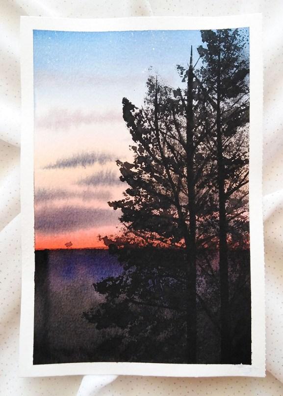 Nesrine Ziadi watercolor Tree Pink Sunset Doodlewash