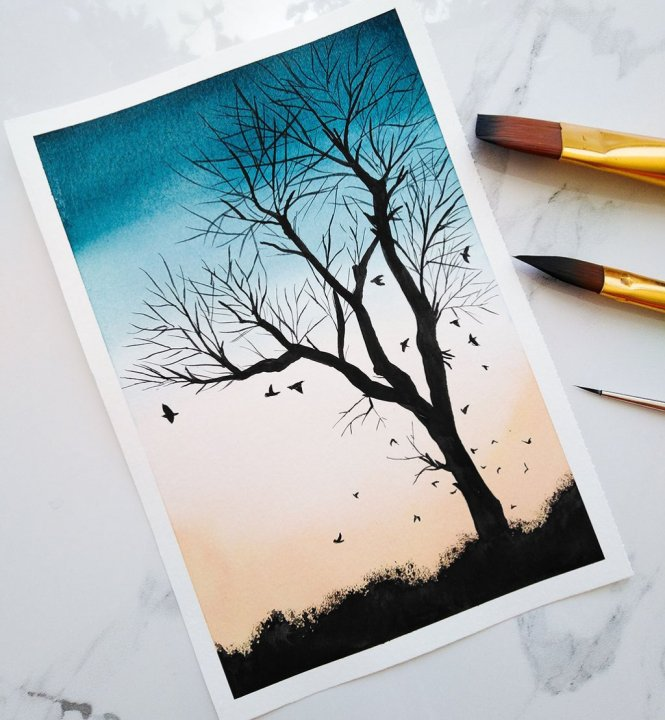 Nesrine Ziadi watercolor Tree Silhouette Doodlewash