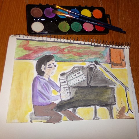 My first art entry today with watercolors. He is very concentrating on his piano piece. That The lon