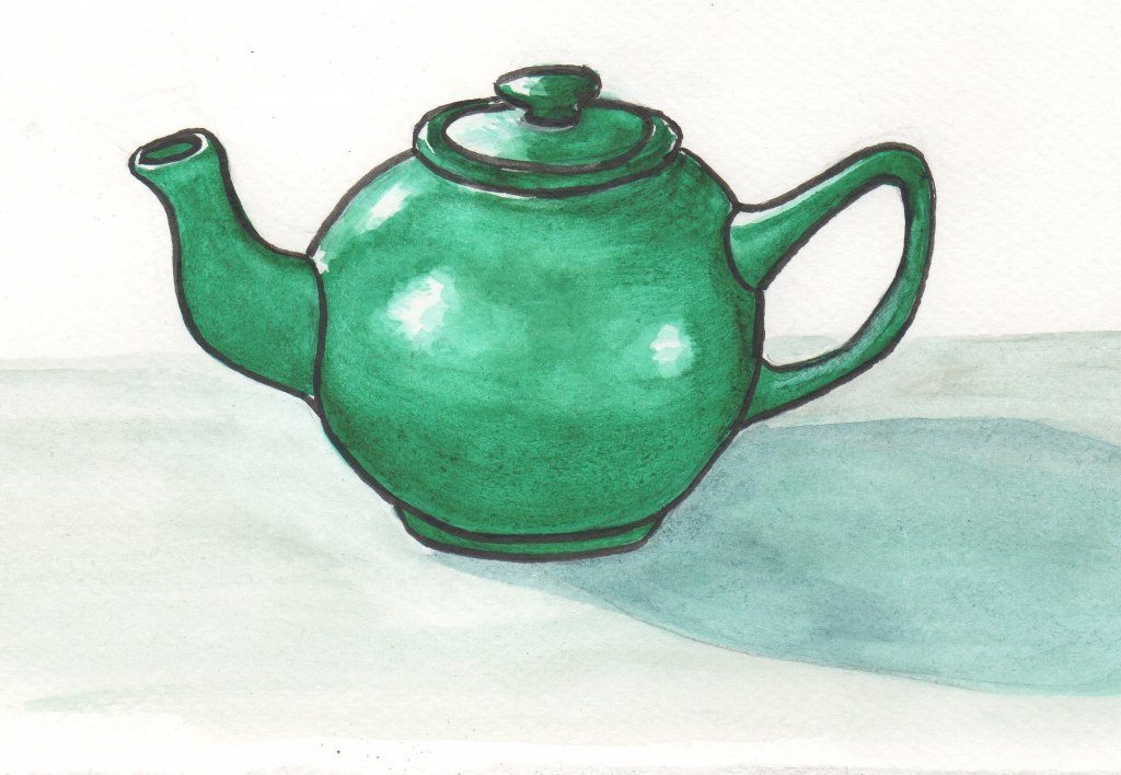 Struggled with today's prompt…So I painted my black teapot pretending it was green. #Wor