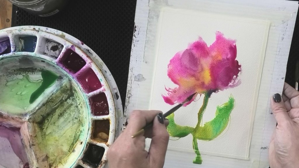 Paint Wet In Wet Watercolor Flower Optional Steps