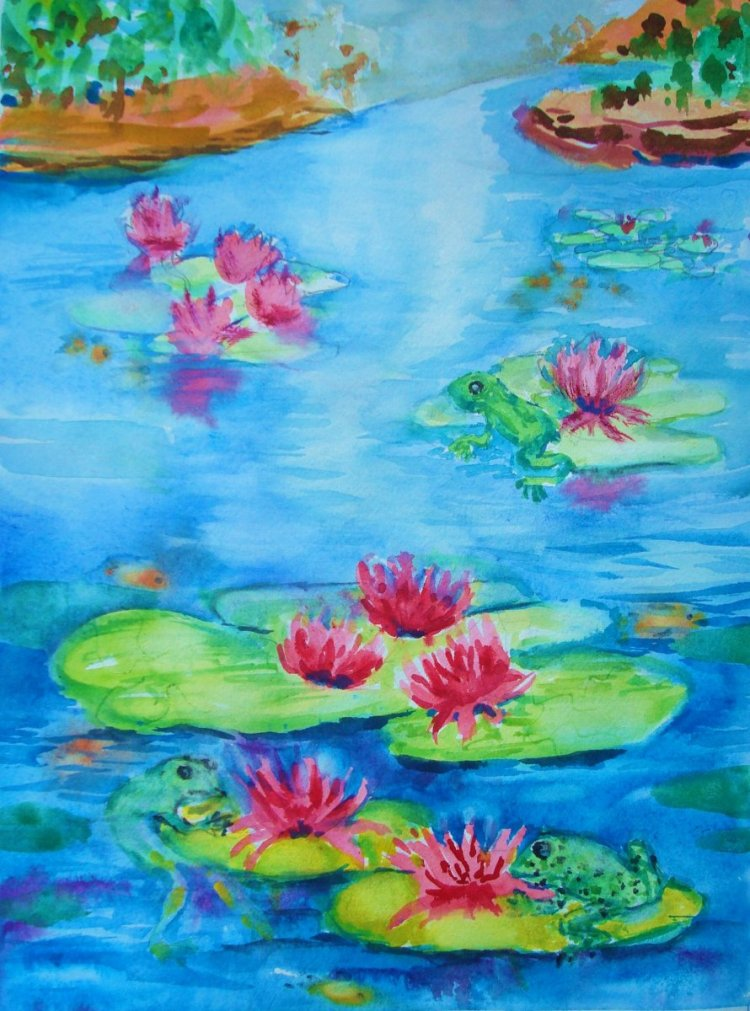 Here is a cool, wet painting. The waterlilies are in bloom. festivefrogs