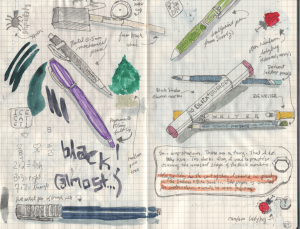 A spread from my latest journal. I seem to be addicted to drawing my art tools. And, in this case, r