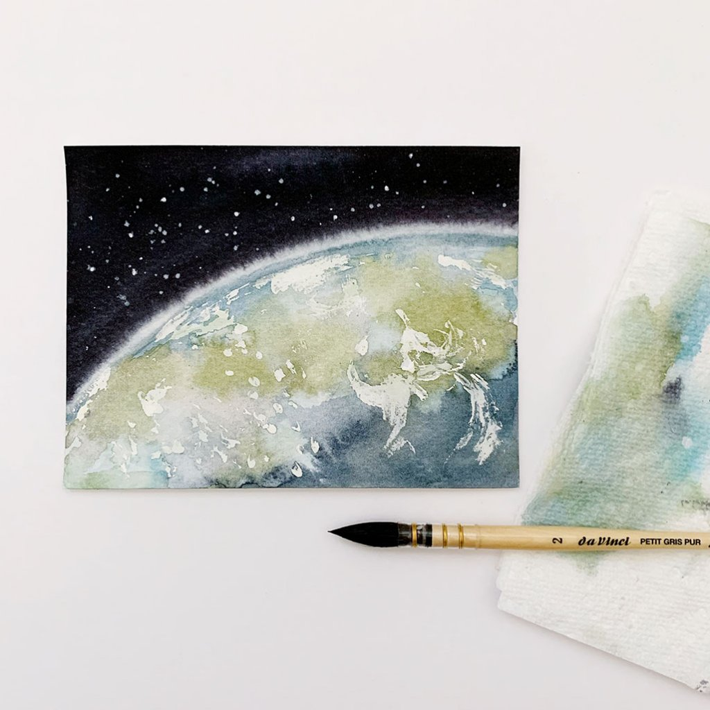 Earth And Galaxy Watercolor by Susan Chiang - Doodlewash