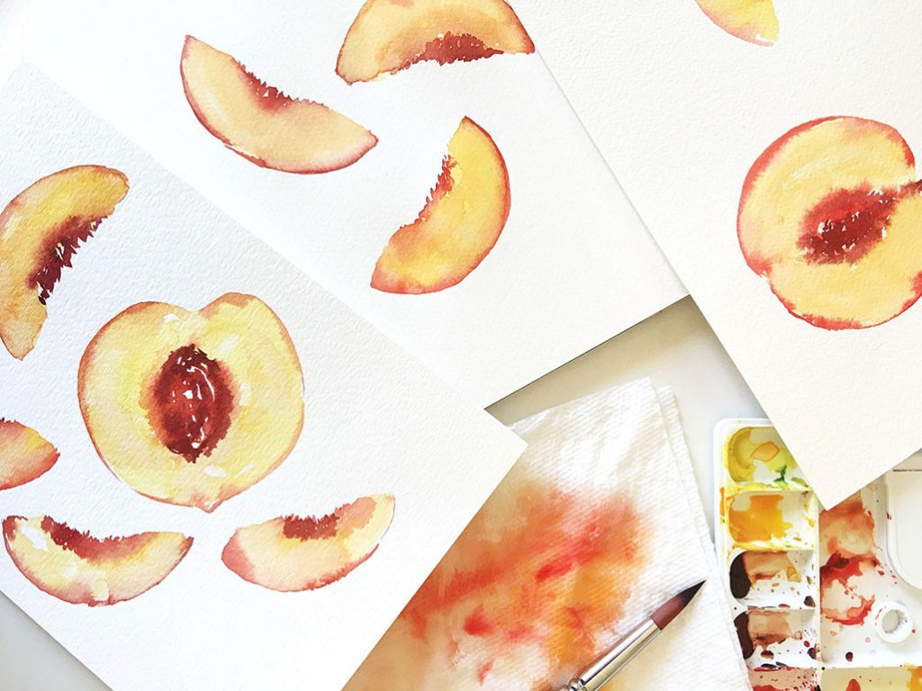 Watercolor Peaches by Susan Chiang - Doodlewash