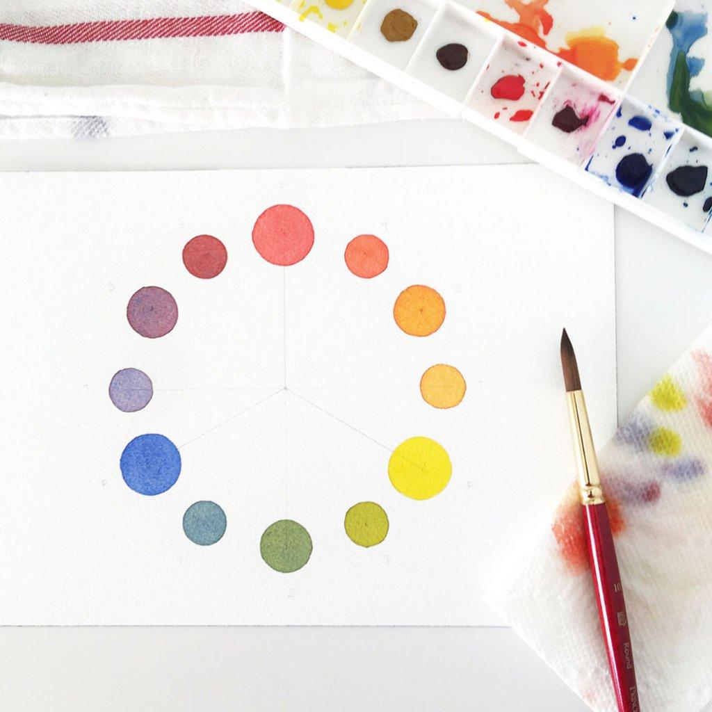 Watercolor Color Wheel by Susan Chiang - Doodlewash